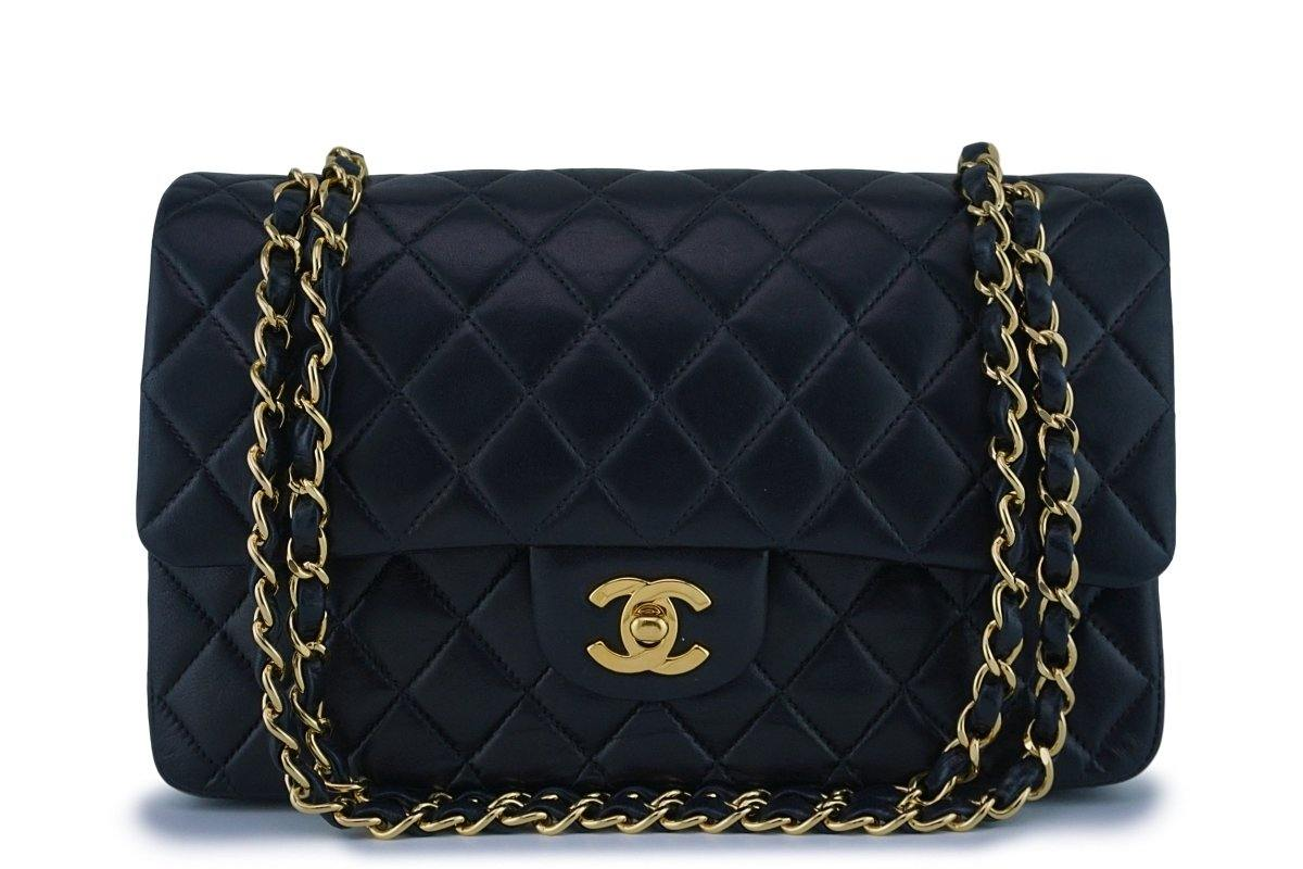 Chanel Black Lambskin Medium Classic 2.55 Double Flap Bag 18k Gold Plated