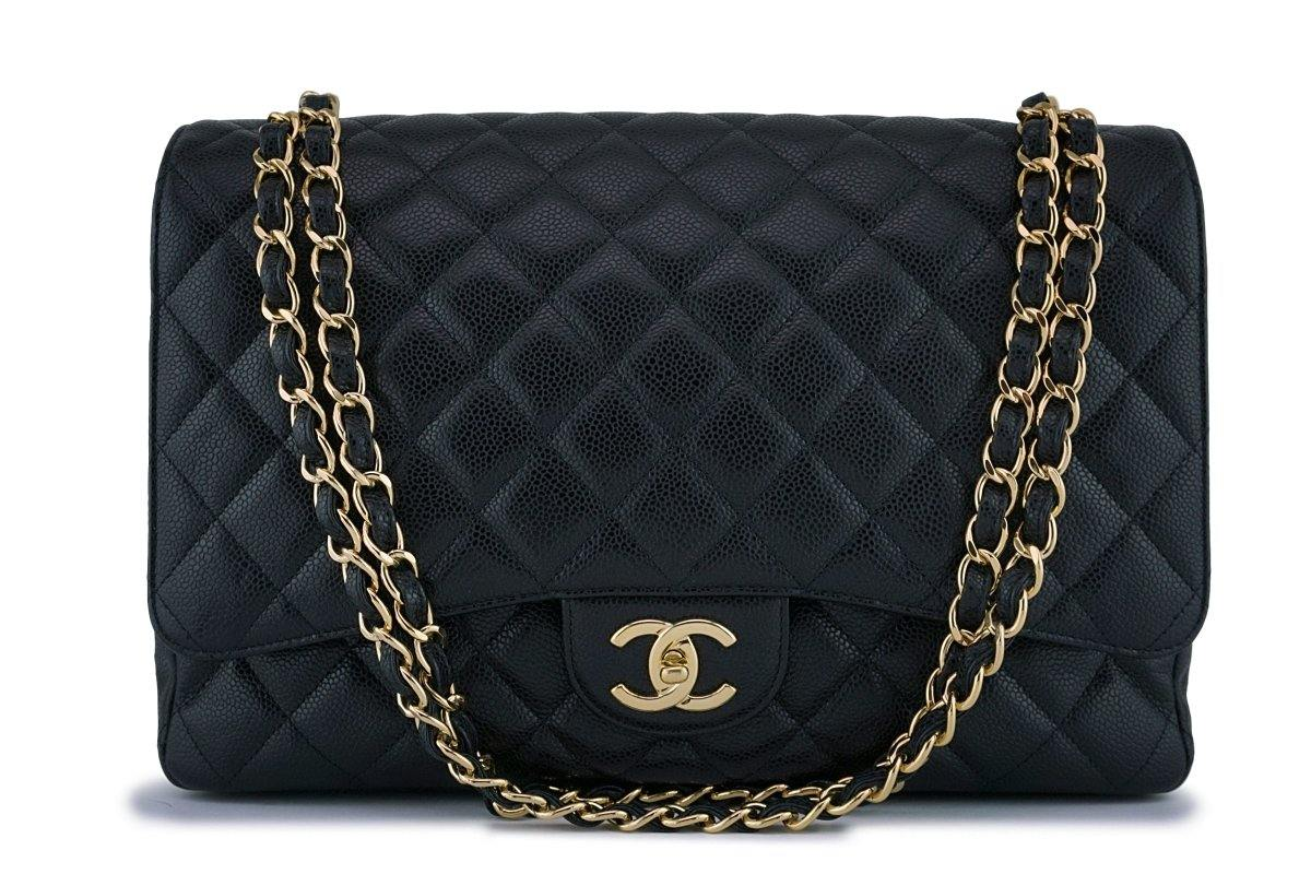 Chanel Black Caviar Maxi Quilted Classic 2.55 Jumbo XL Double Flap Bag GHW