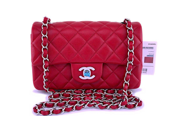 NWT 18B Chanel Pink Red Caviar Rectangular Mini Classic Flap Bag