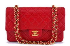 Chanel Red Lambskin Medium Classic Double Flap Bag 24k GHW