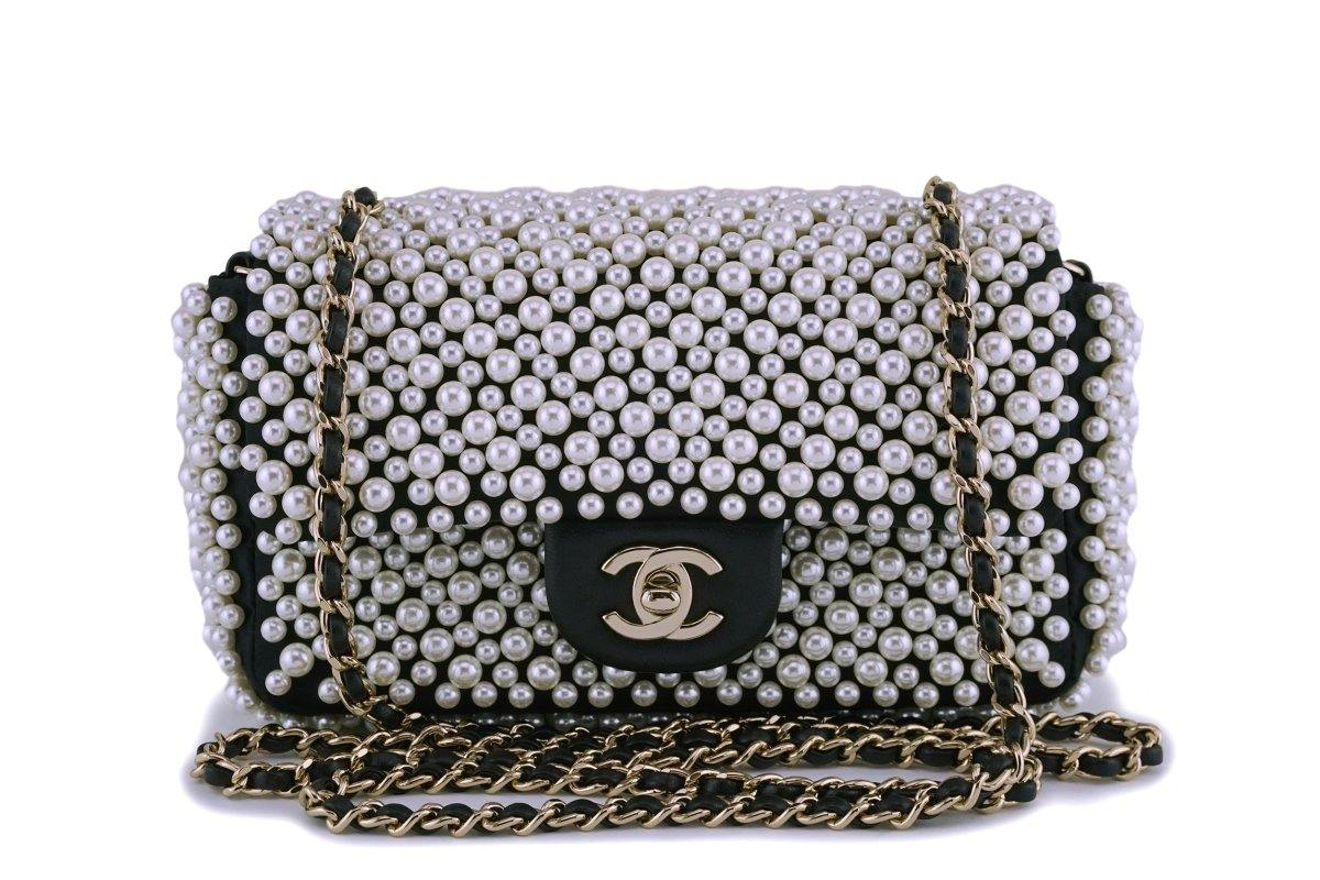 Rare Chanel Black Pearl Studded Mini Classic Flap Bag GHW