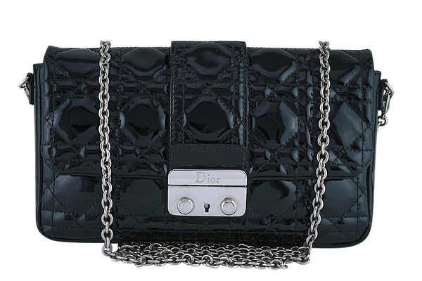 Christian Dior Black New Lock Pochette Wallet on Chain WOC Bag