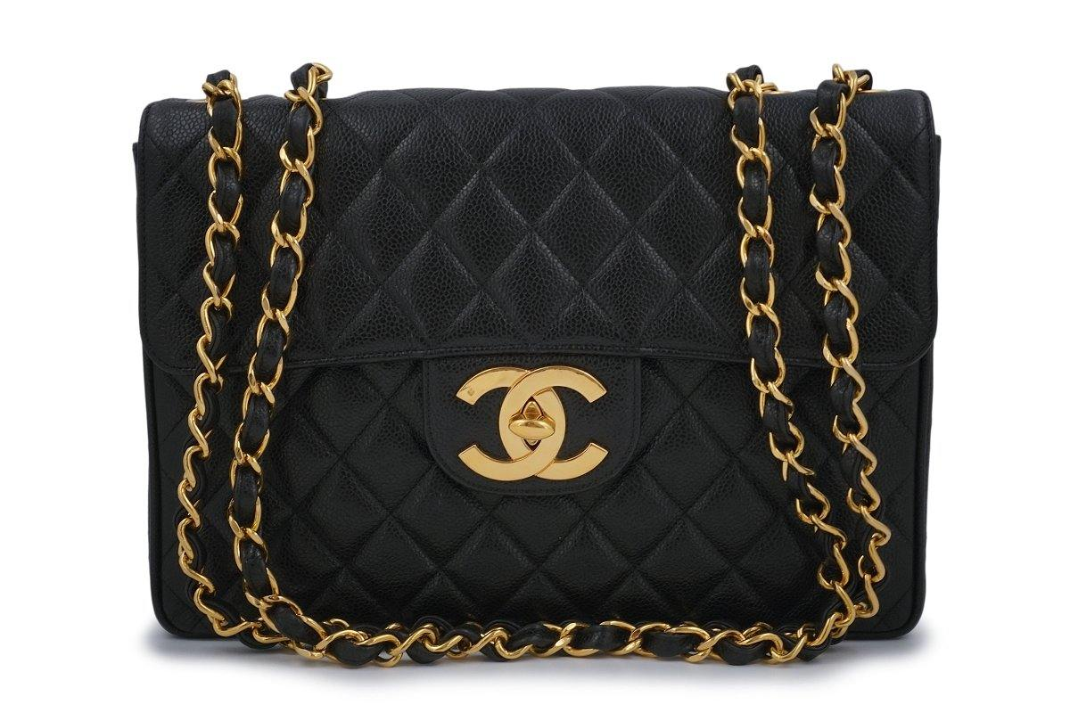 Chanel Vintage Black Caviar Jumbo Classic Flap Bag 24k GHW - Boutique Patina