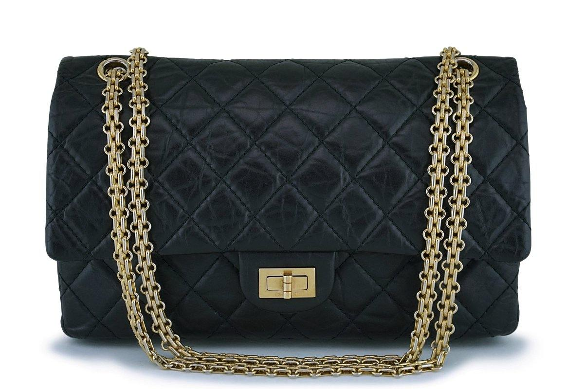 Chanel Black 2.55 Reissue Medium 226 Classic Double Flap Bag GHW