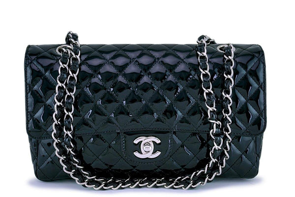 Chanel Black Patent Classic 2.55 Medium Flap Bag SHW