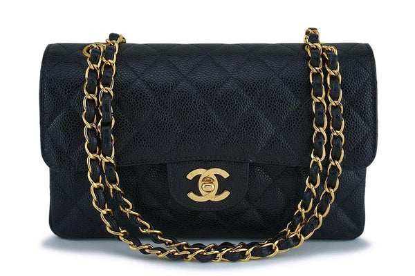 Rare Chanel Black Caviar Small Classic Double Flap Bag GHW 24k GHW