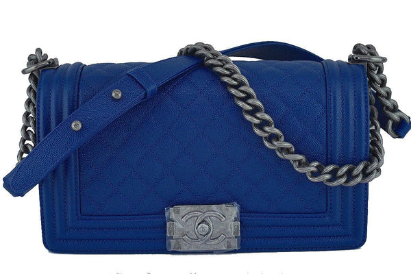 NIB 2017 Chanel Blue Caviar Medium Classic Boy Flap Bag