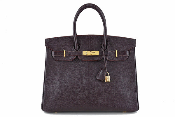 Hermes Ebene Chevre 35cm Birkin dark brown Bag