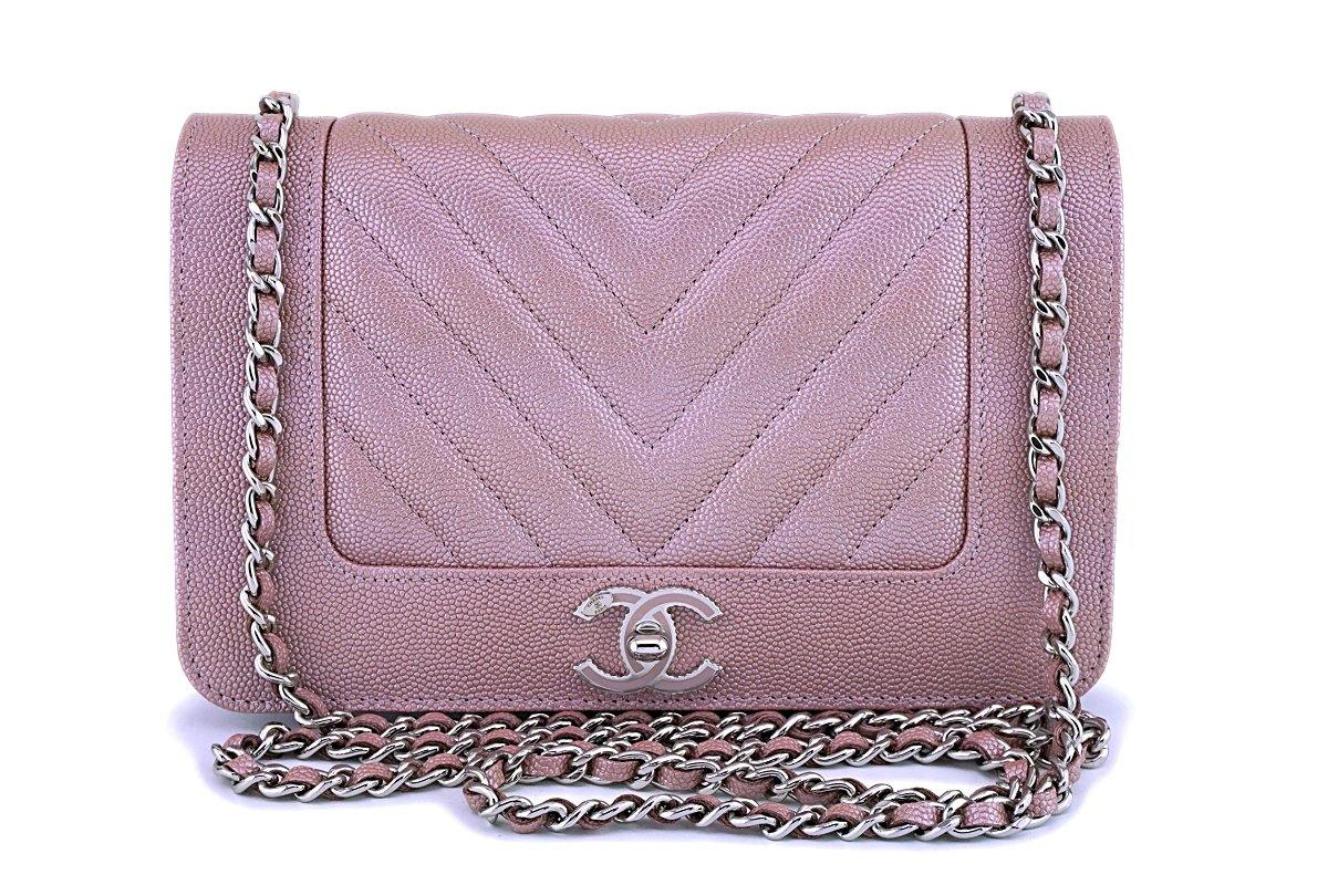NIB 19P Chanel Pink Caviar Rose Gold Chevron Wallet on Chain WOC Flap Bag - Boutique Patina