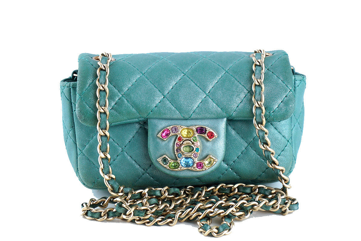Chanel Turquoise Extra Mini Flap, Precious Jewel Limited 2.55 Bag - Boutique Patina  - 1