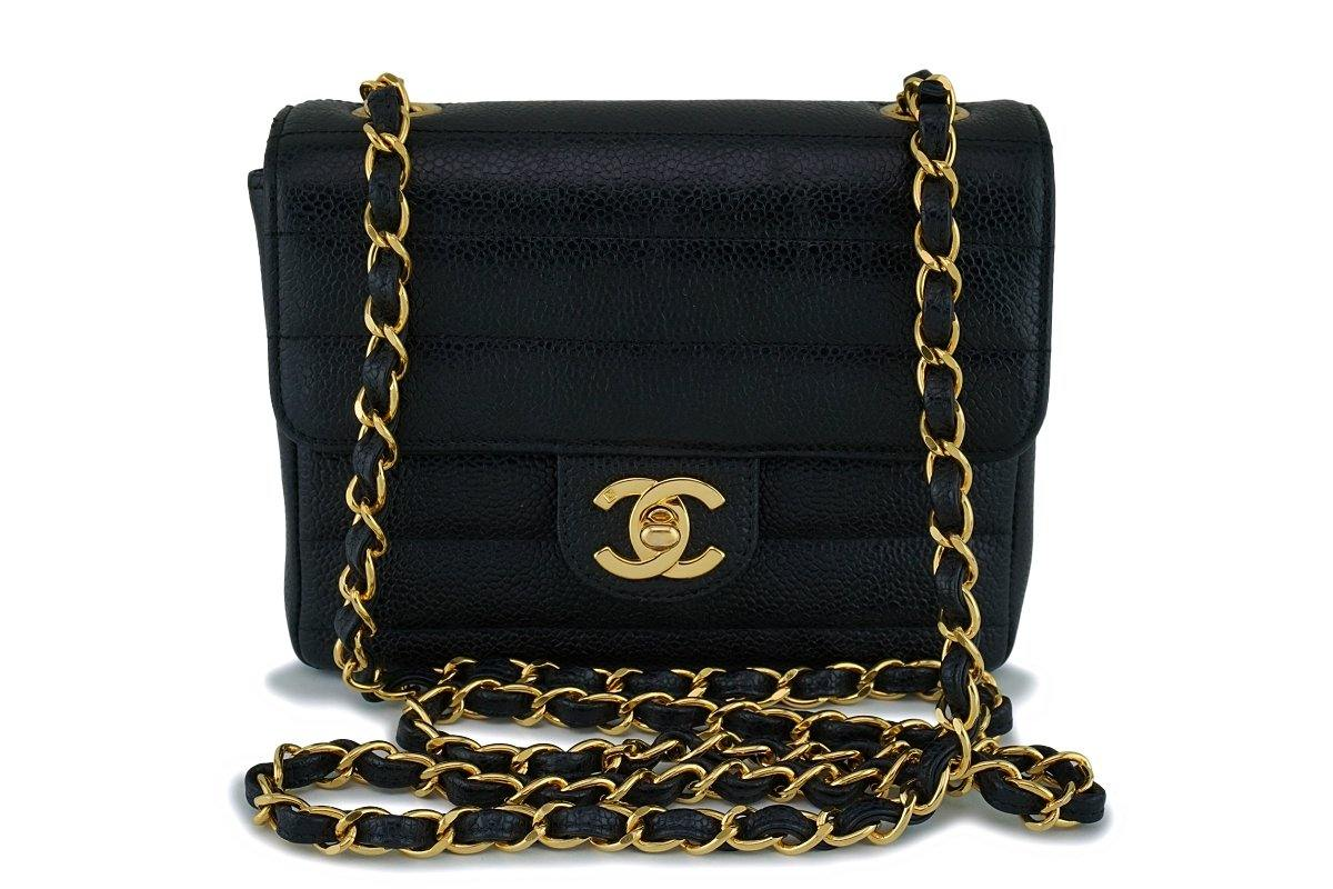 bc73d09b9f77 Chanel Vintage Black Caviar Classic Square Mini Flap Bag 24k GHW