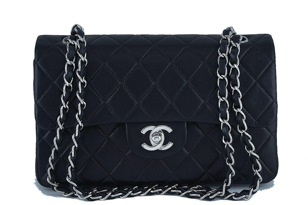 Chanel Black Lambskin Medium-Small Classic 2.55 Double Flap Bag SHW - Boutique Patina  - 1