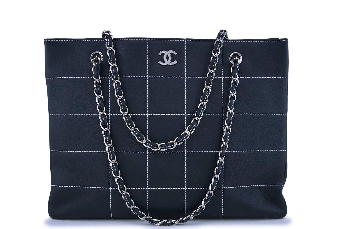Chanel Dark Blue Contrast Stitch Giant XL Shopper Tote Bag
