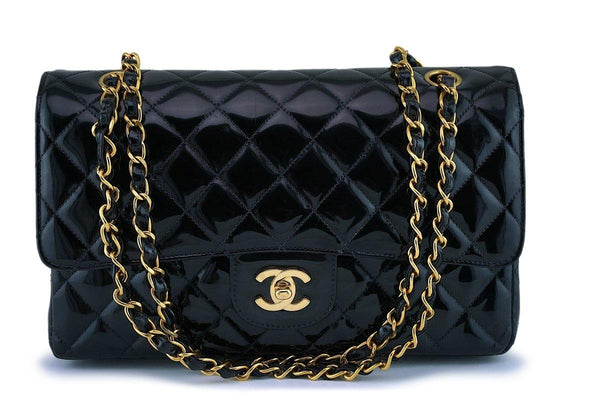 Chanel Black Patent Medium Classic Double Flap Bag 24k GHW