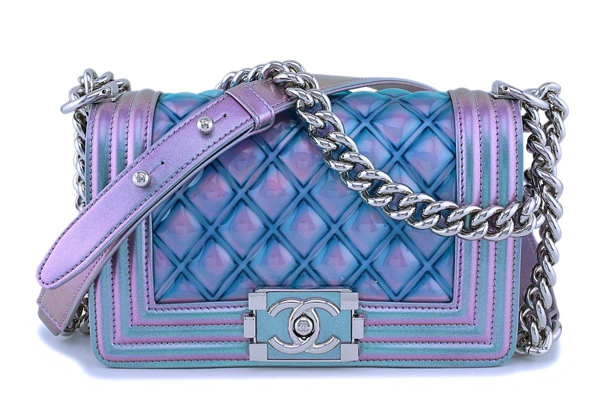 fc67a2d0fc7a81 18S Chanel Iridescent Purple Mermaid Small Classic Water Boy Flap Bag