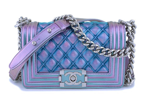 18S Chanel Iridescent Purple Mermaid Small Classic Water Boy Flap Bag SHW