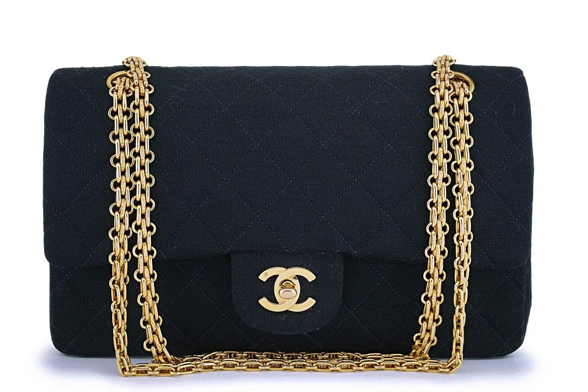 Chanel Vintage Black Jersey Canvas Medium Classic Double Flap Bag 24k GHW