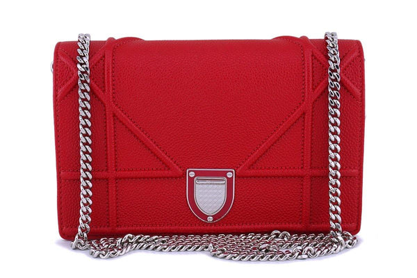 Christian Dior Red Calfskin Diorama Wallet on Chain WOC Flap Bag SHW