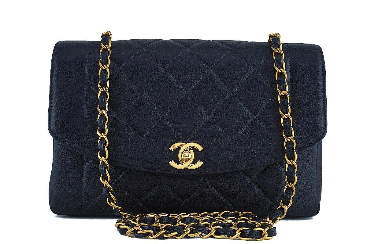 "Chanel Black Caviar Vintage Quilted Classic Pocket ""Diana"" Flap Bag"