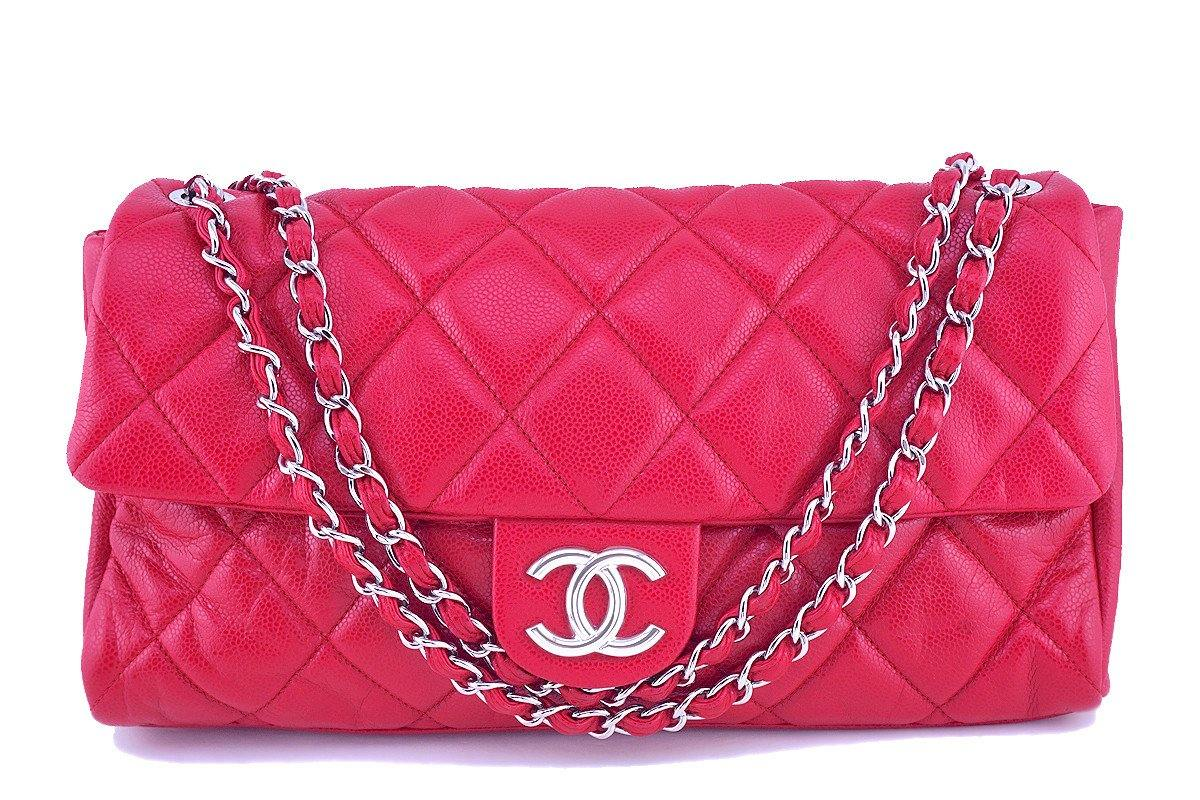 Chanel 15in. Raspberry Red Caviar Maxi Jumbo XL Classic Easy Flap Bag