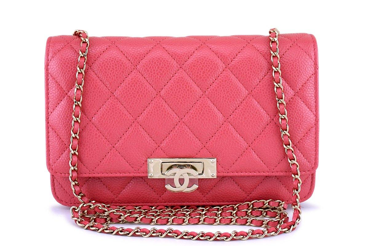New 18S Chanel Pink Caviar Golden Class Wallet on Chain WOC Flap Bag