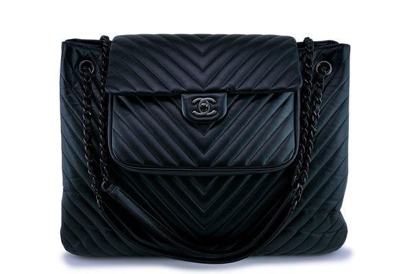 Rare 15S Chanel So Black Chevron Classic Large Shopper Flap Tote Bag