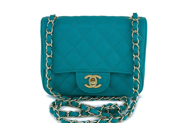 b617629863f 17C Chanel Turquoise Blue Caviar Classic Quilted Mini Flap Bag GHW