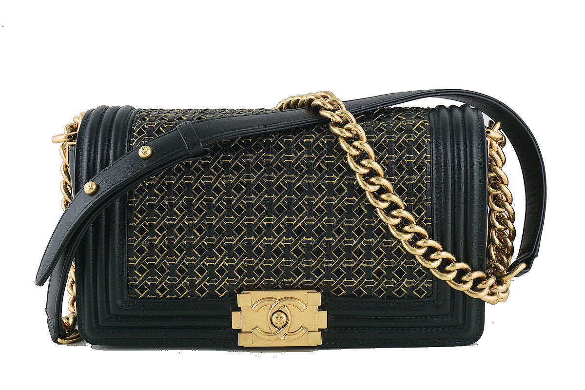 Chanel Black Medium Le Boy Gold-trimmed Rattan Flap Bag