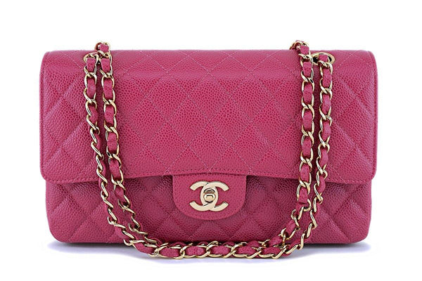 RARE 03C Chanel Vintage Caviar Rose Fonce Pink Medium Classic Double Flap Bag 24k GHW