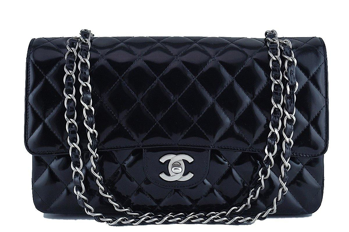 Chanel Black Patent Medium Classic 2.55 Double Flap Bag