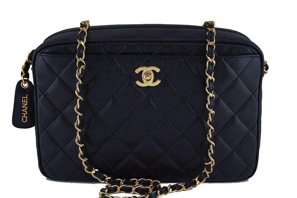 Chanel Black Caviar Quilted Classic Camera Case Clasp Pocket Bag