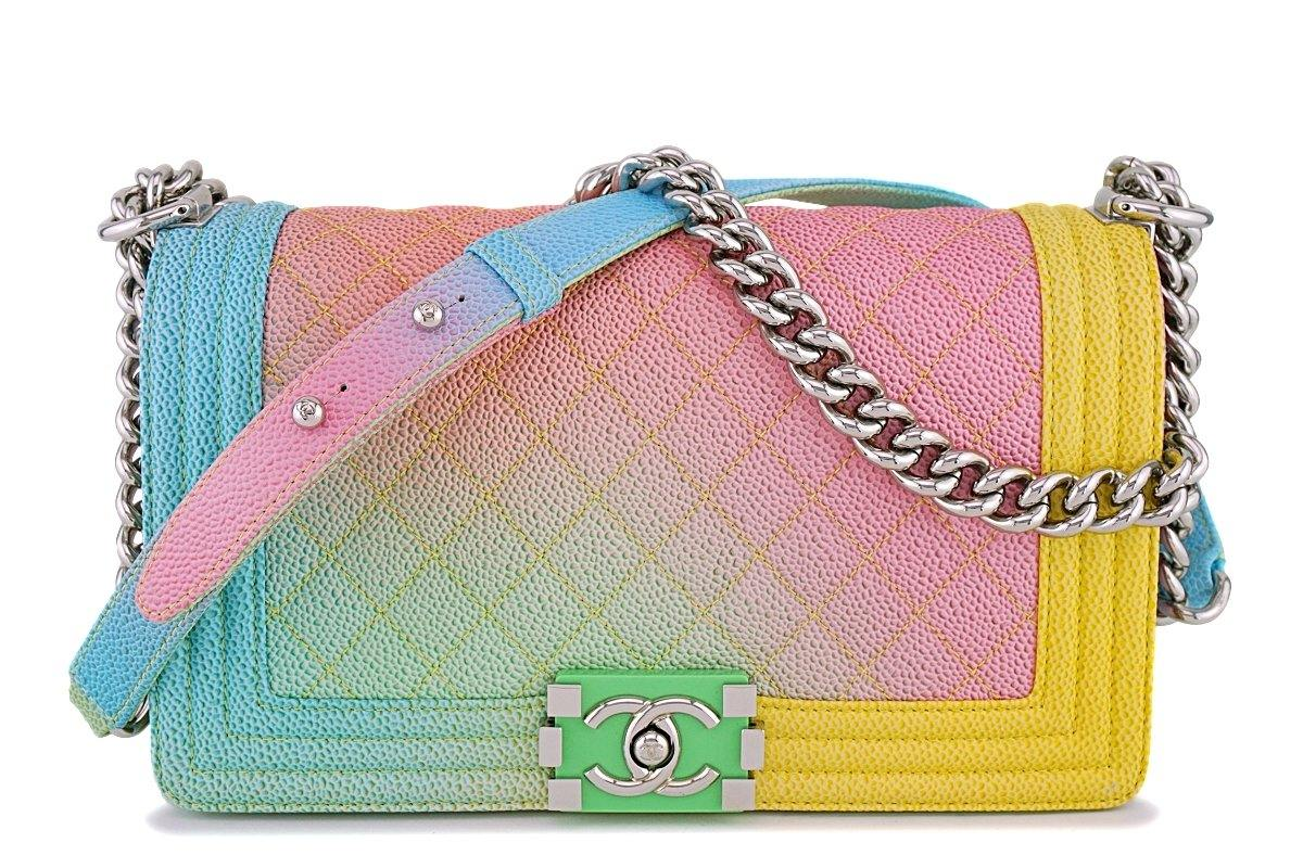 16C Chanel Rainbow Caviar Medium Classic Boy Flap Bag SHW