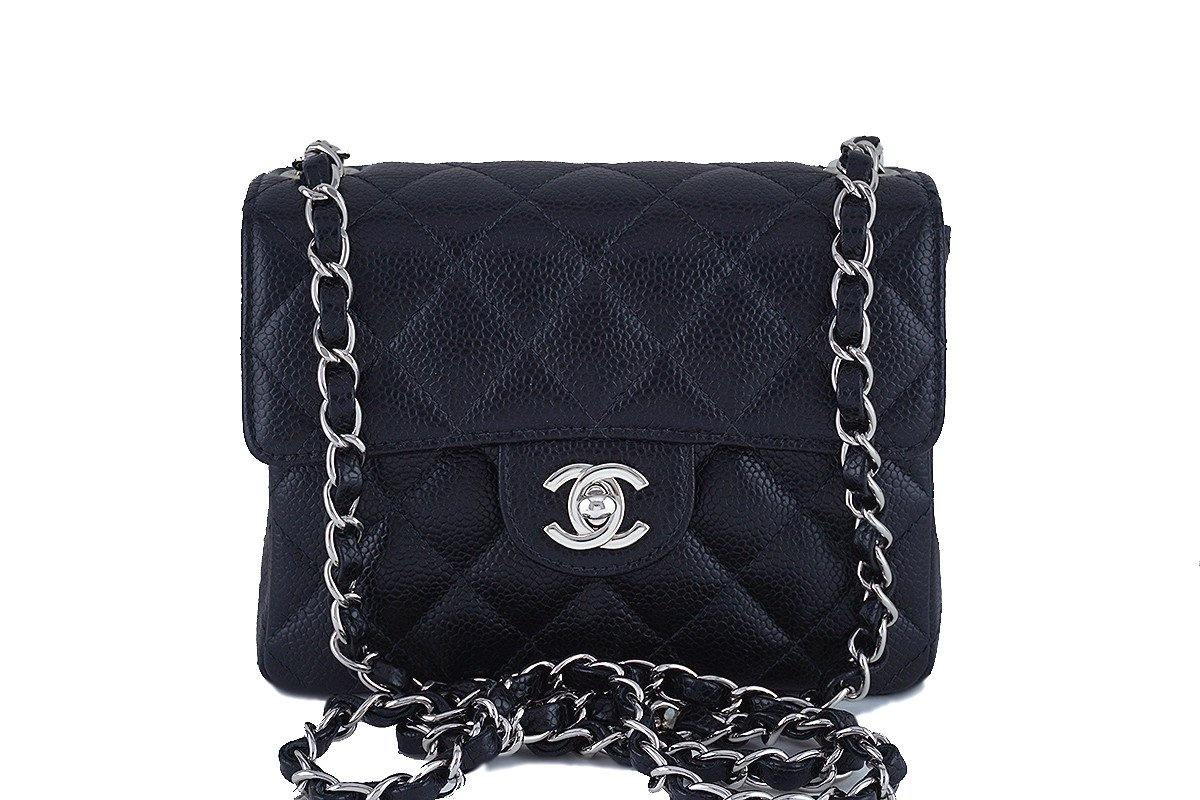 Chanel Black Caviar Classic Quilted Square Mini 2.55 Flap Bag, SHW