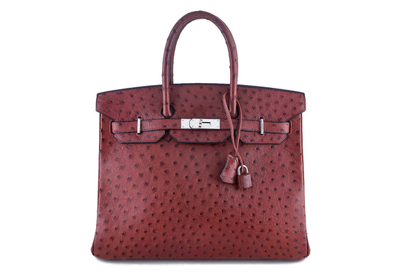 Hermes Ostrich Rouge H Red 35cm Birkin Bag PHW