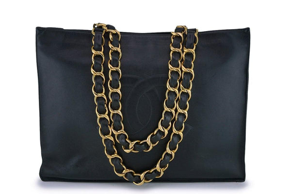 Chanel Vintage Black Chunky Chain Classic Tote Bag 24k GHW
