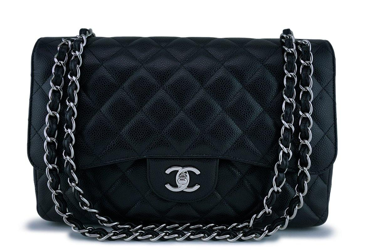 Chanel Black Caviar Jumbo 2.55 Classic Double Flap Bag SHW