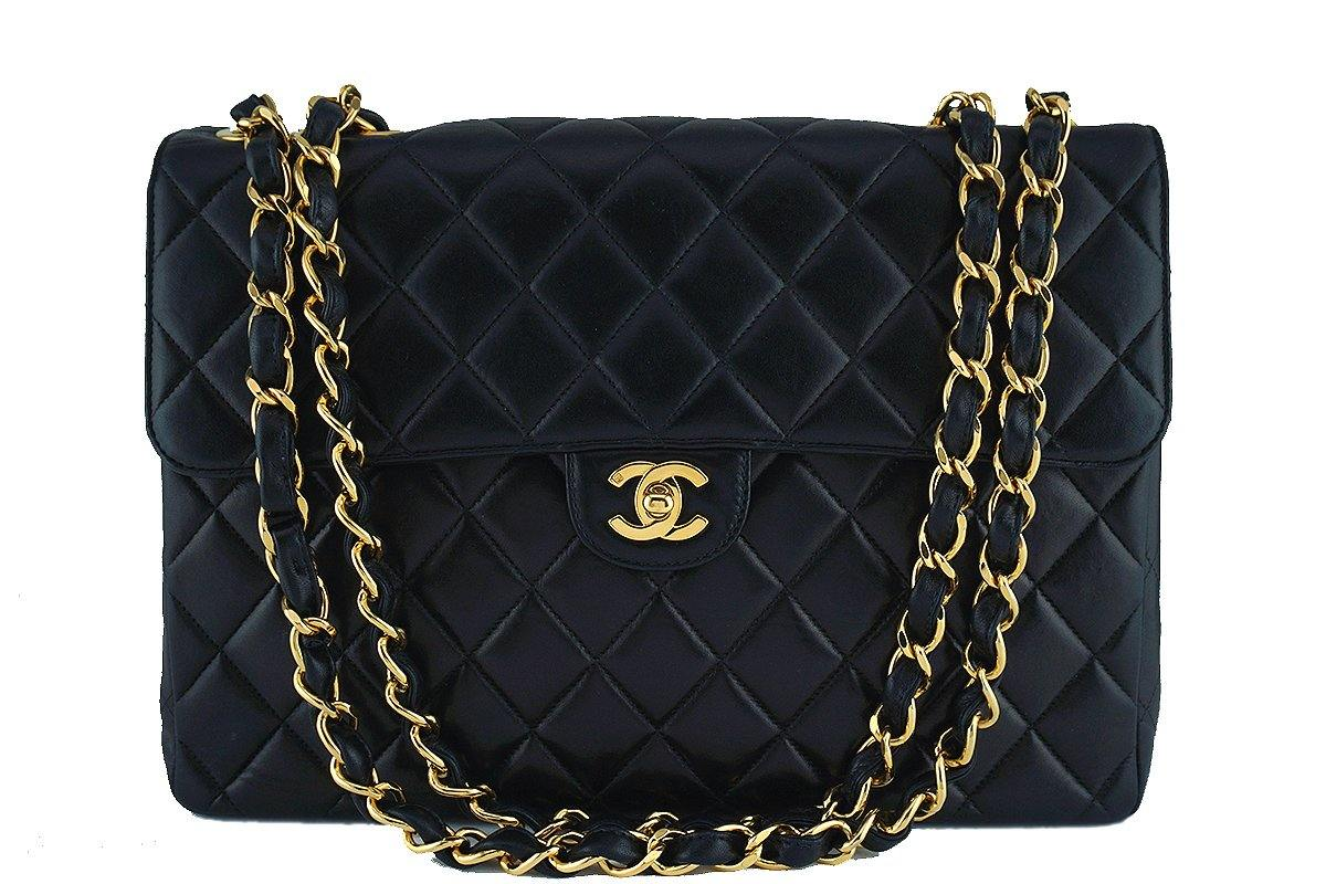 Chanel Black Lambskin Jumbo Quilted Classic 2.55 Flap Bag 24k Gold Plated