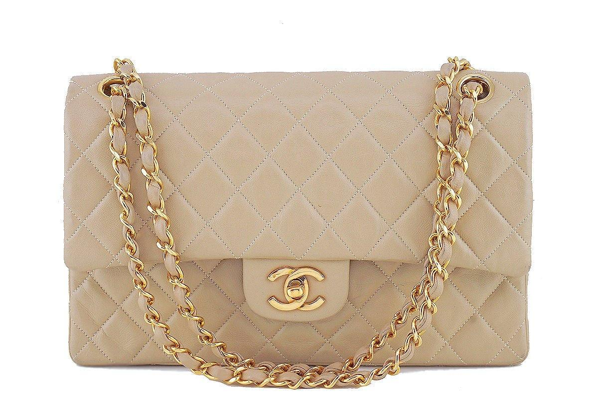 Chanel Beige Lambskin Medium-Large Classic 2.55 Double Flap Bag