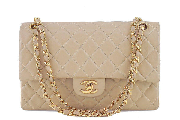 66445bf2508a Chanel Beige Lambskin Medium-Large Classic 2.55 Double Flap Bag