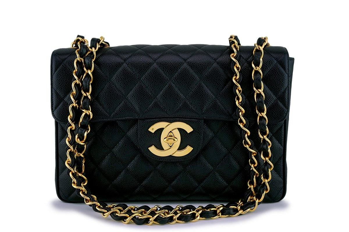 Chanel Vintage Caviar Classic Jumbo Flap Bag 24k GHW