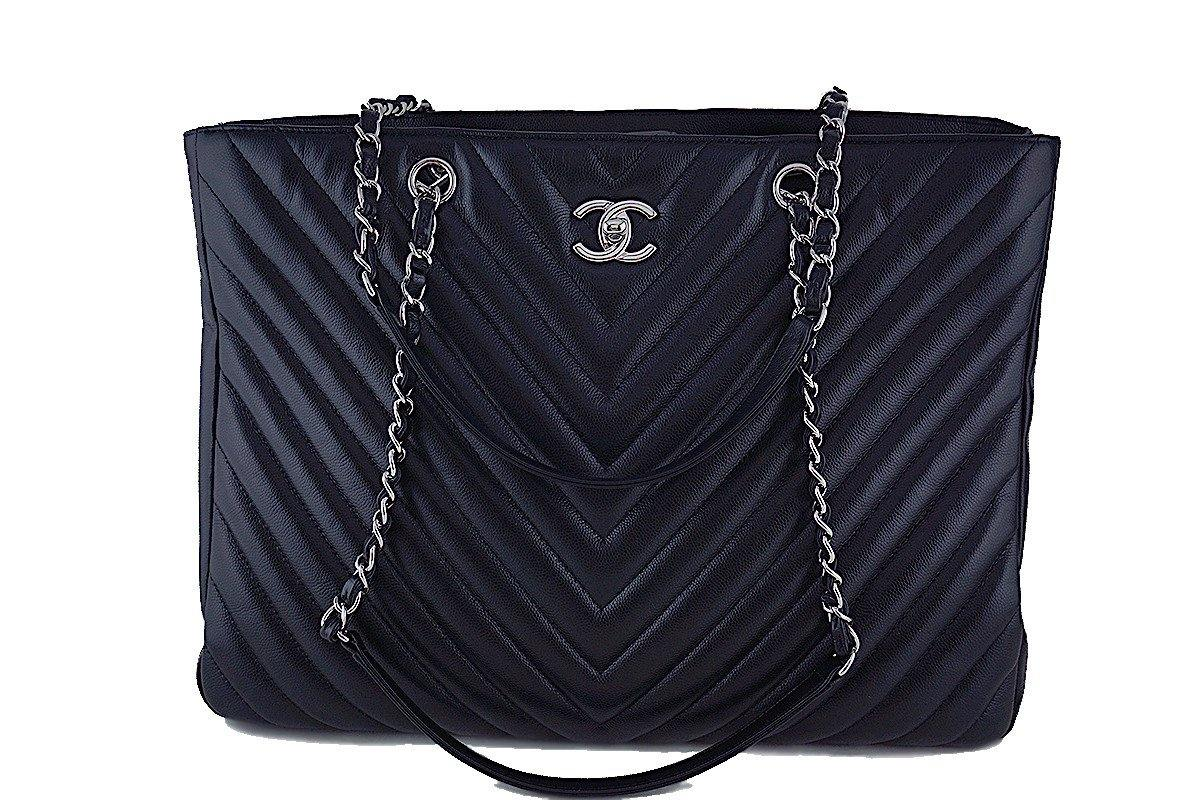 Chanel Black Caviar Chevron Classic Quilted Shopper Tote Bag