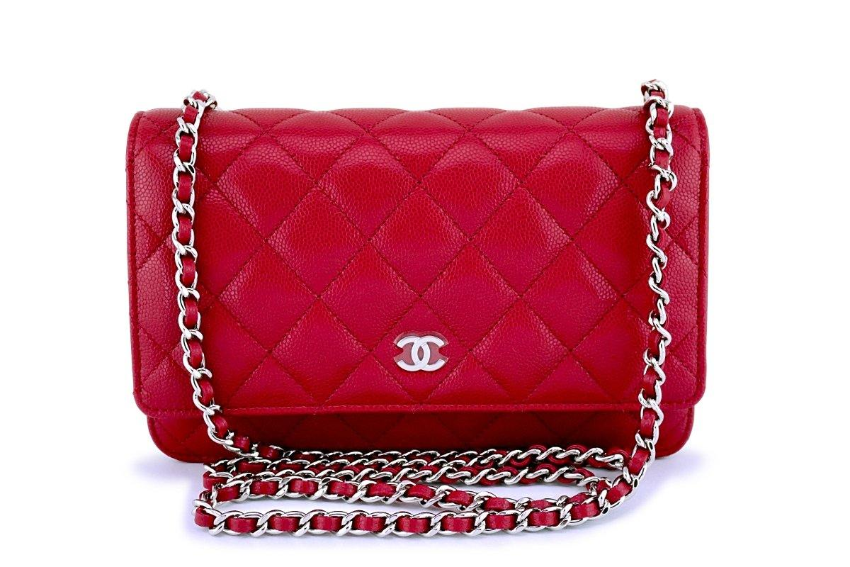 New 18B Chanel Red-Pink Caviar Classic Wallet on Chain WOC Flap Bag