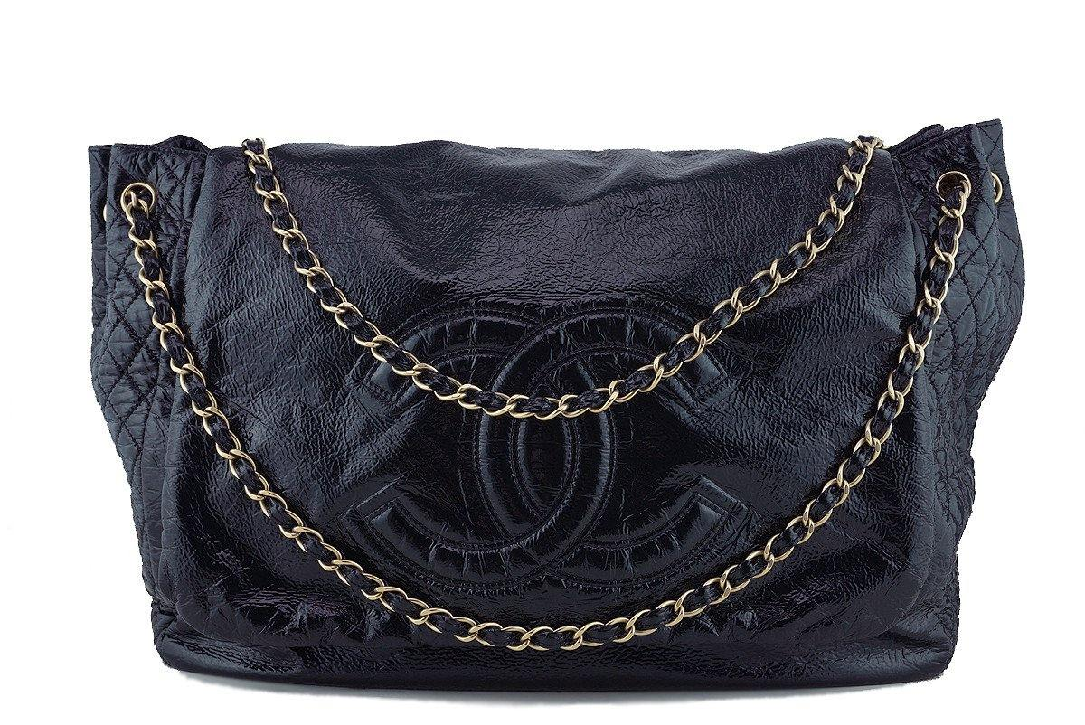 Chanel Black 18in. XXL Patent Rock & Chain Flap Bag - Boutique Patina  - 1