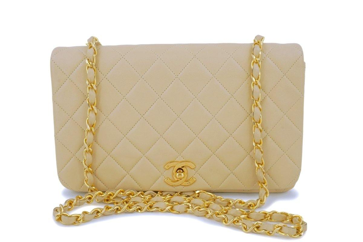 Chanel Vintage Beige Classic Timeless Flap Bag 24k GHW - Boutique Patina