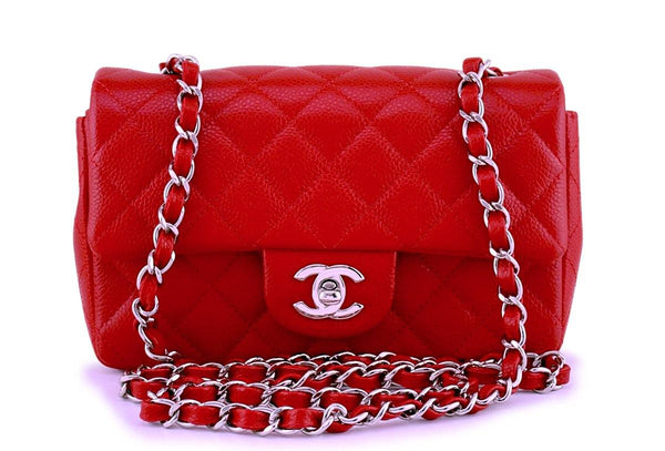 Chanel Red Caviar Classic Quilted Rectangular Mini 2.55 Flap Bag