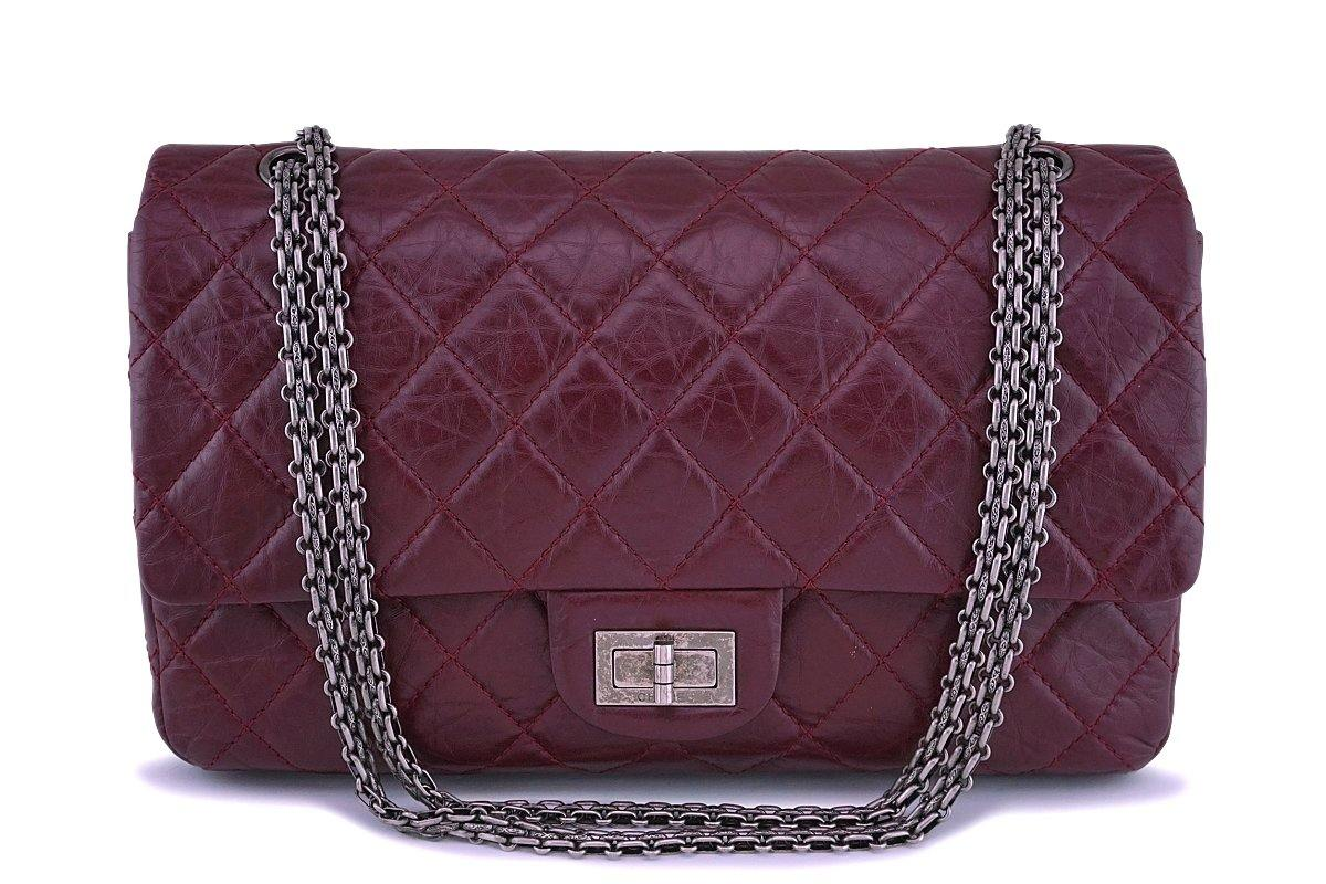 04221c80a9d7 Chanel Burgundy Red 2.55 Classic Reissue 227 Large Jumbo Flap ...
