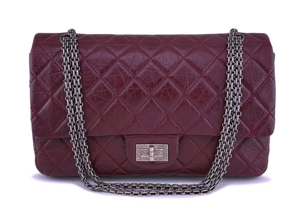 Chanel Burgundy Red 2.55 Classic Reissue 227 Large Jumbo Flap Bag RHW
