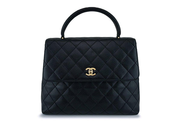 Chanel Black Caviar Kelly Flap Tote Bag 24k GHW