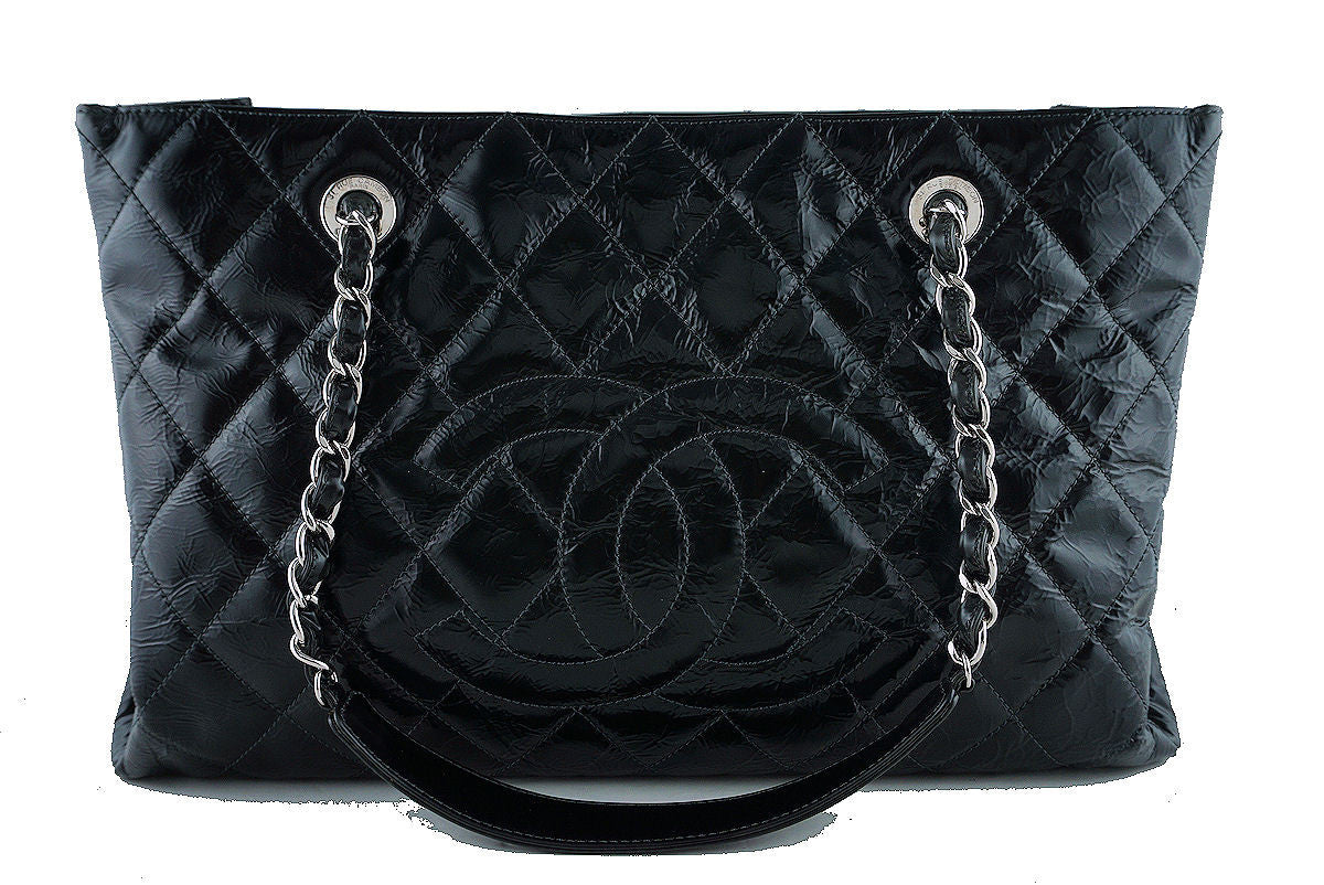 Chanel Black Glazed Calf XL Large Grand Shopper Tote GST Bag