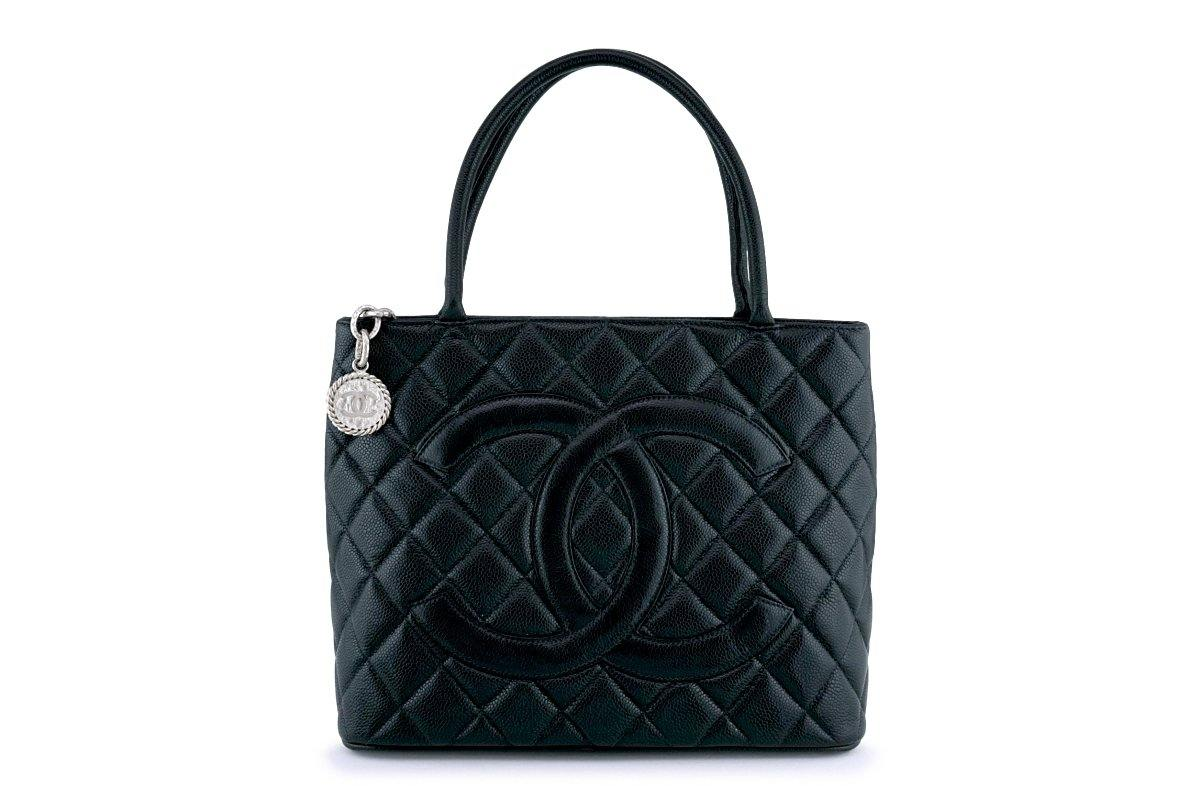 Chanel Black Caviar Classic Quilted Medallion Shopper Tote Bag SHW
